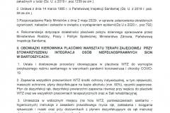 Procedury Postępowania w okresie Pandemii COVID - 19 na terenie WTZ